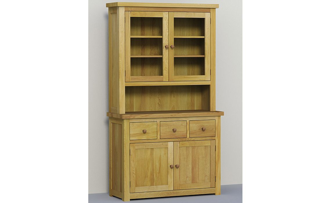 Classic Oak 113cm Glazed Dresser Top High Grade Solid European