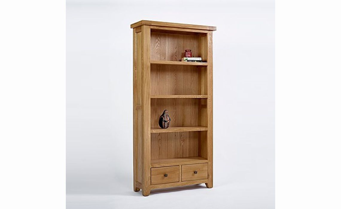 Devon Oak Large Bookcase 2 Drawer