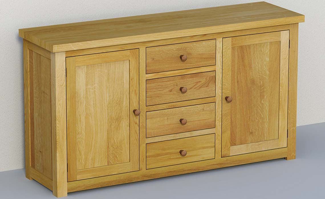 Classic Oak Living Sideboard 160cm Large Base 40mm Solid European Oiled Or Lacquered Oak