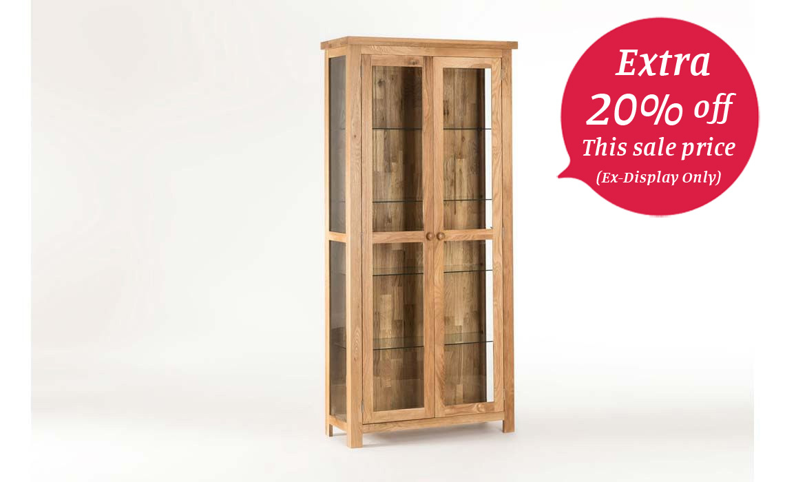 York Solid Oak Glazed Bookcase