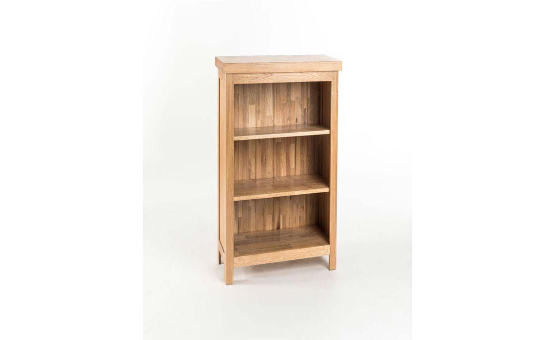 York Solid Oak Low Narrow Bookcase