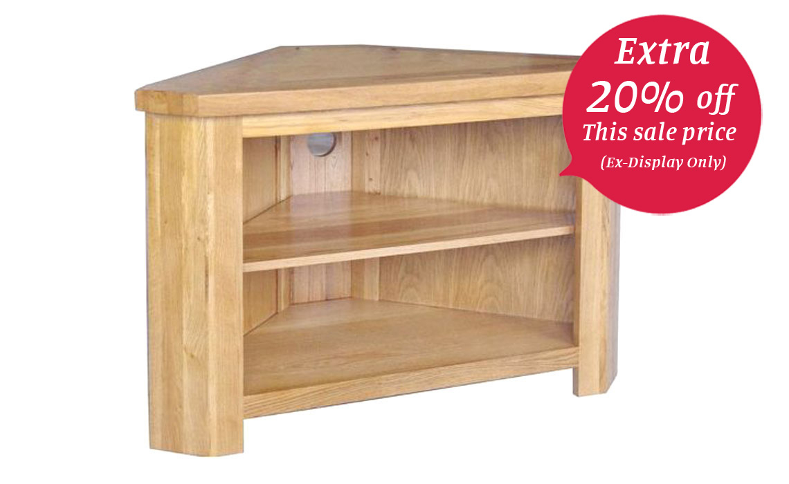 York Solid Oak Tv Open Corner Tv Unit