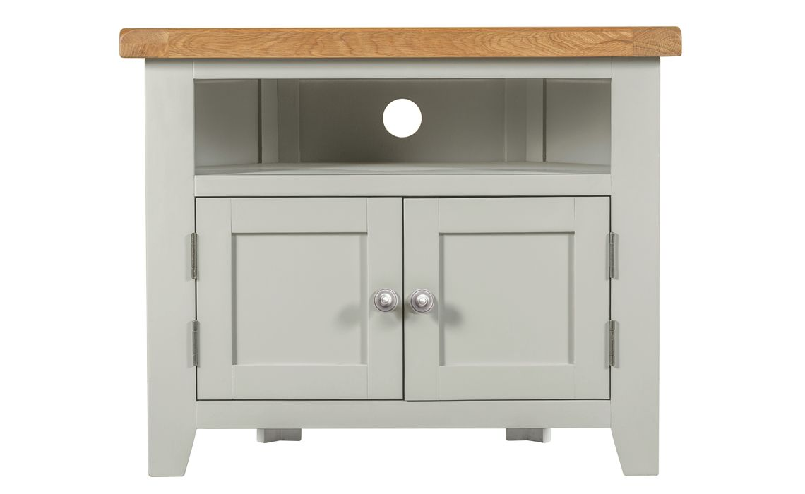 Wexford Grey Painted Corner Tv Unit With Solid Doors Painted