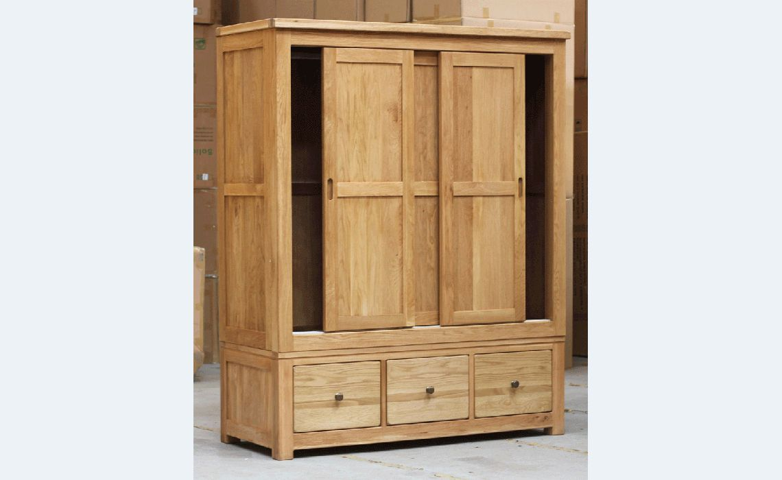 Norfolk Rustic Solid Oak Sliding Door Triple Wardrobe Solid Oiled