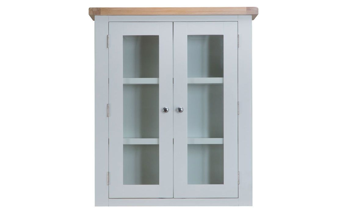 Regency Grey Painted Small Dresser Top With Oak And Glass Doors