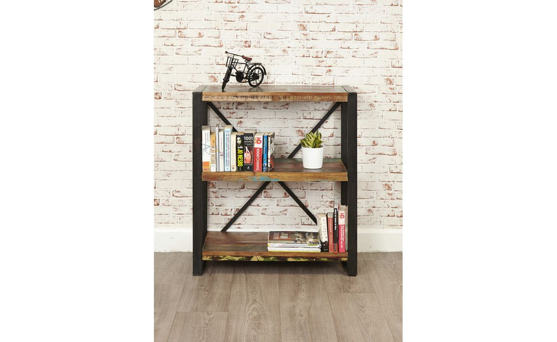 Mali Reclaimed Pine Low Bookcase Reclaimed Wood With A