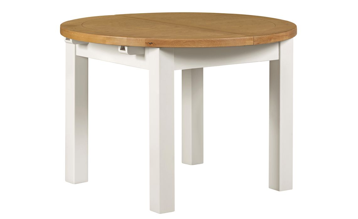 Eden Ivory Painted 110 150cm Extending Round Dining Table Painted Hardwood Base With A Wax Oak Top Beds Mattresses Sofas Furniture Ipswich Suffolk Uk