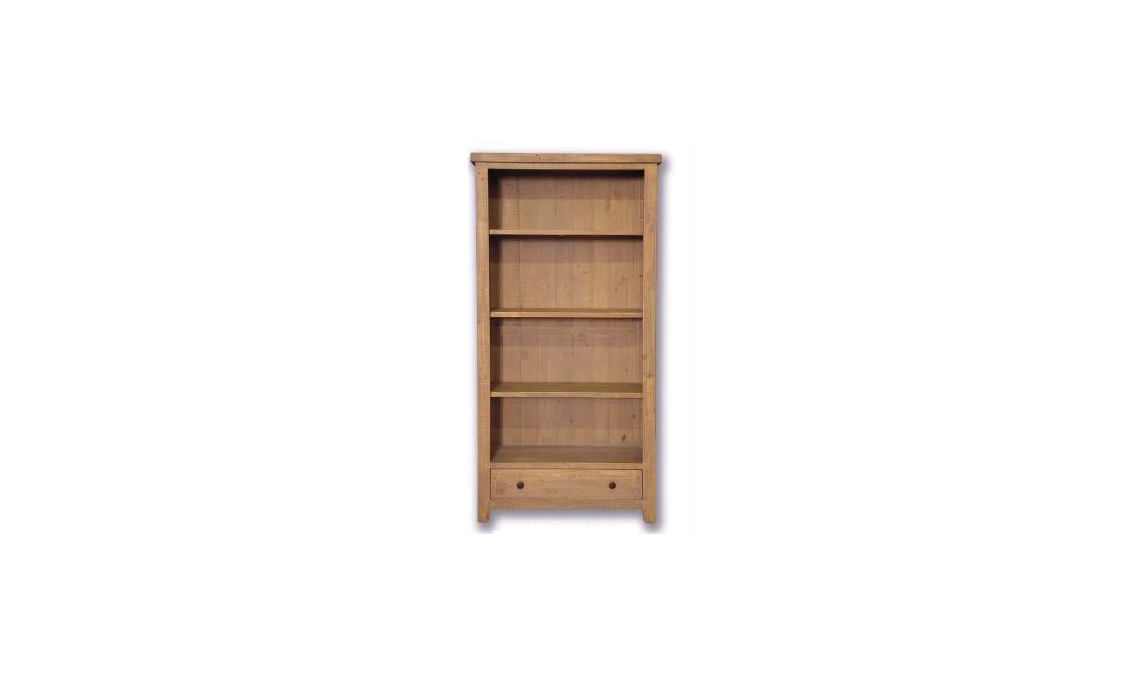 Dunwich Reclaimed Pine Large Bookcase With Drawer
