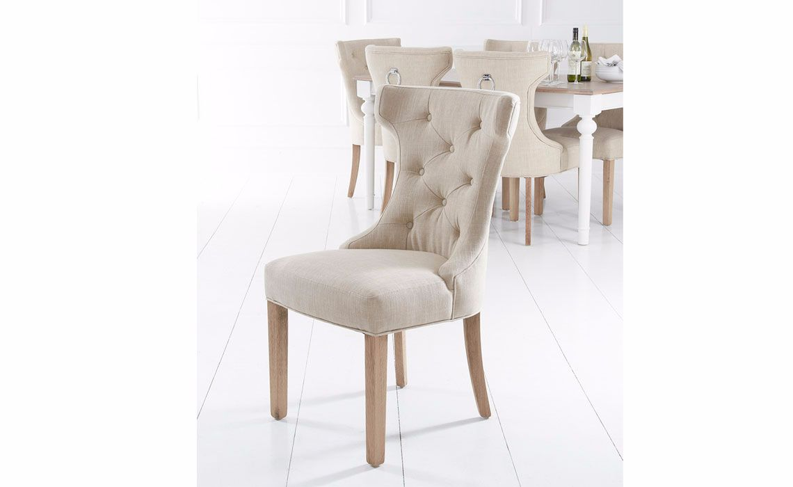 Grace Beige Upholstered Dining Chair Oak Frame With