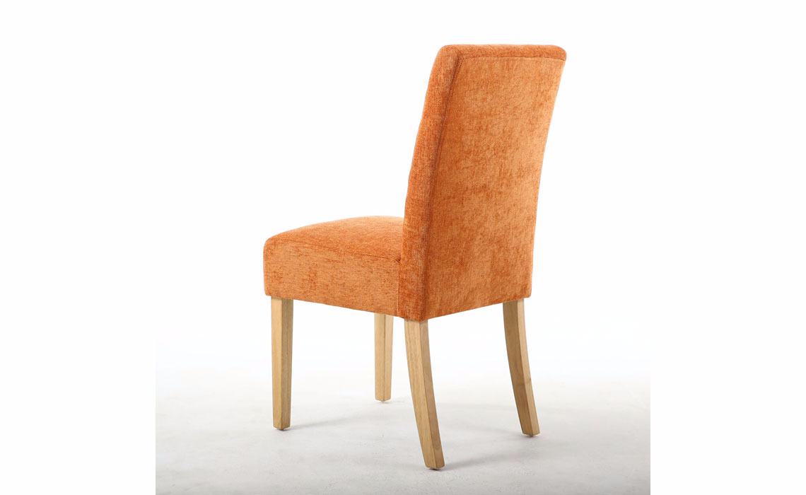 Picture of: Kansas Burnt Orange Dining Chair With Oak Legs 100 Polyester Beds Mattresses Sofas Furniture Ipswich Suffolk Uk