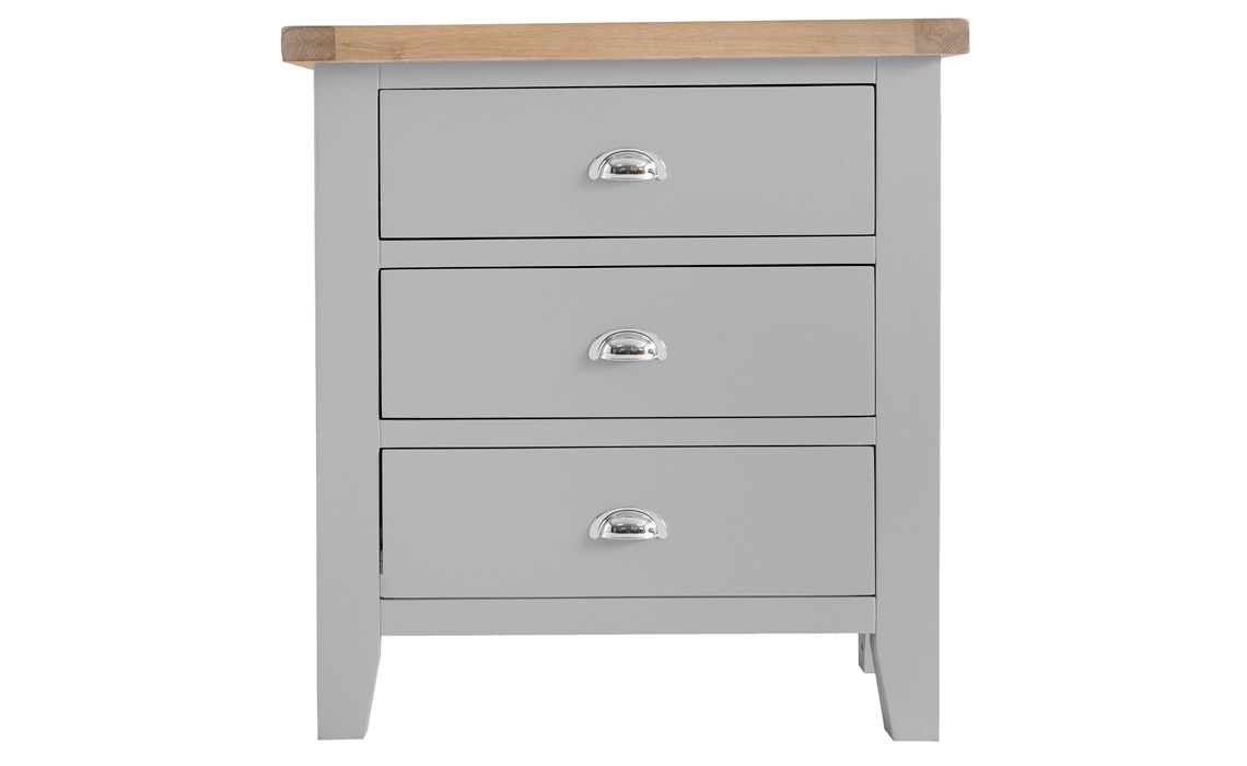 Regency Grey Painted 3 Drawer Small Chest Painted Hardwood With Oak