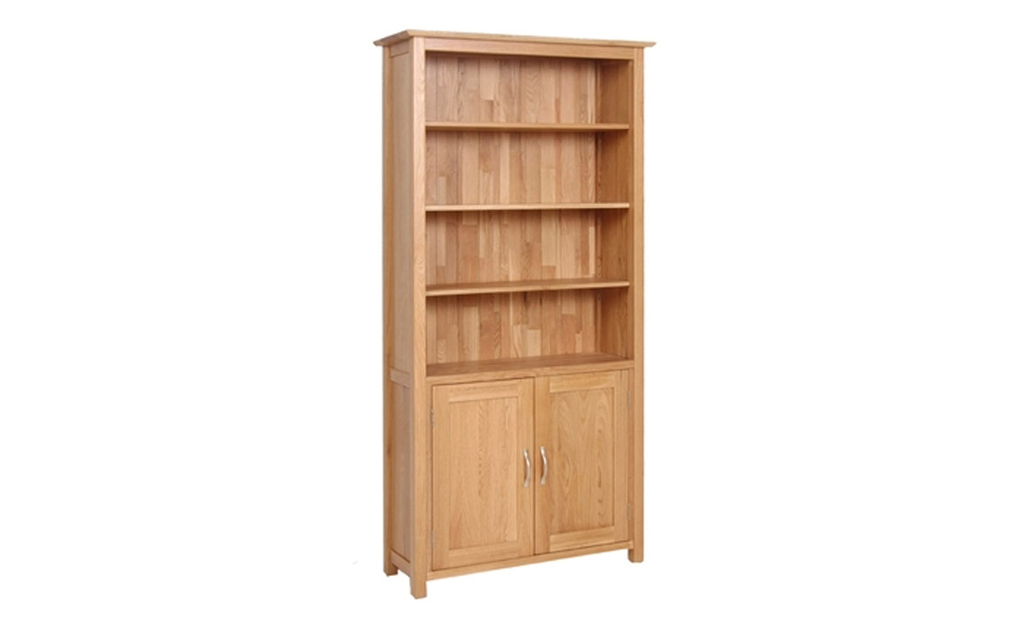 Woodford Solid Oak Tall Bookcase With Cupboard