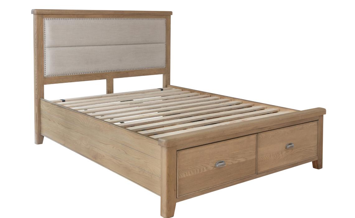 Ambassador Oak 6ft Super Kingsize Studded Fabric Bed Frame With Drawers Dark Oak Beds Mattresses Sofas Furniture Ipswich Suffolk Uk