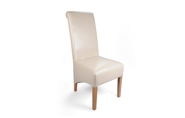 Chairs & Bar Stools - Classic Cream Rollback Leather Dining Chair