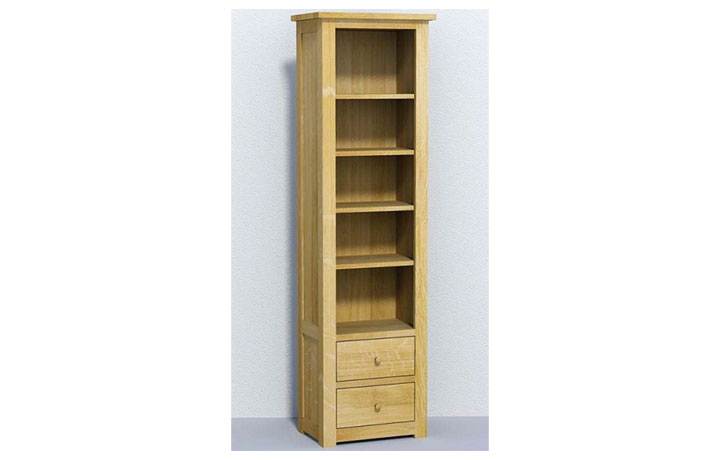 bookcases - Classic Oak - Living - Bookcase -Tall Narrow with 2 Drawers (40mm)