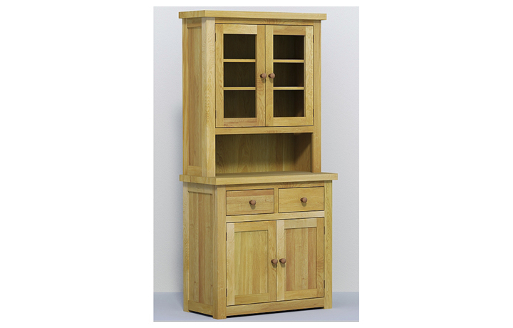 dressers - Classic Oak - Living - Sideboard - 90cm Glazed Dresser Top (40mm)