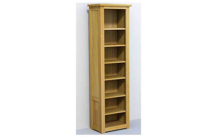Bookcases - Classic Oak Tall Narrow Open (40mm)