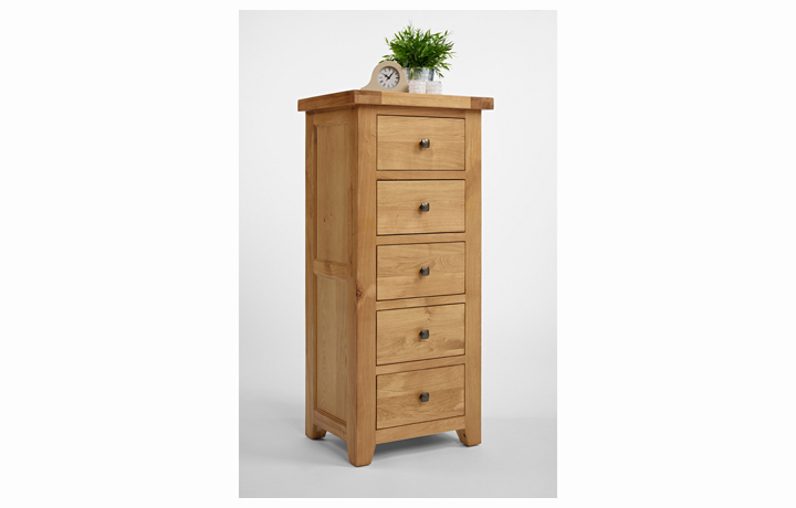 Devon Oak Furniture Range (Web Exclusive) - Devon Oak 5 Drawer Wellington