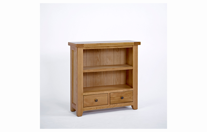 Devon Oak Furniture Range (Web Exclusive) - Devon Oak Low Bookcase 2 Drawer