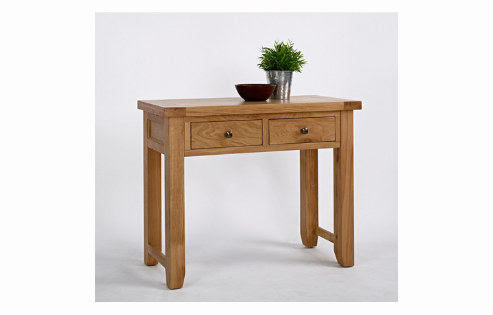 Devon Oak Furniture Range (Web Exclusive) - Devon Oak 2 Drawer Console Table