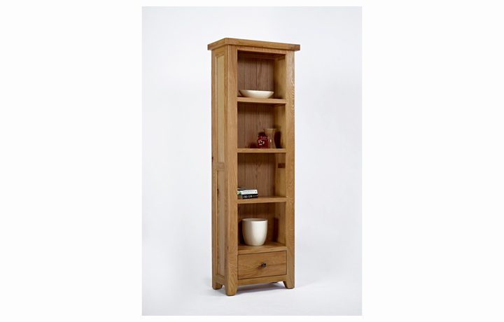 Display Cabinets - Devon Oak Tall Narrow Bookcase 1 Drawer