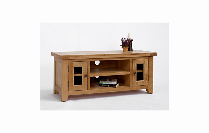 TV Cabinets - Devon Oak Large TV Unit