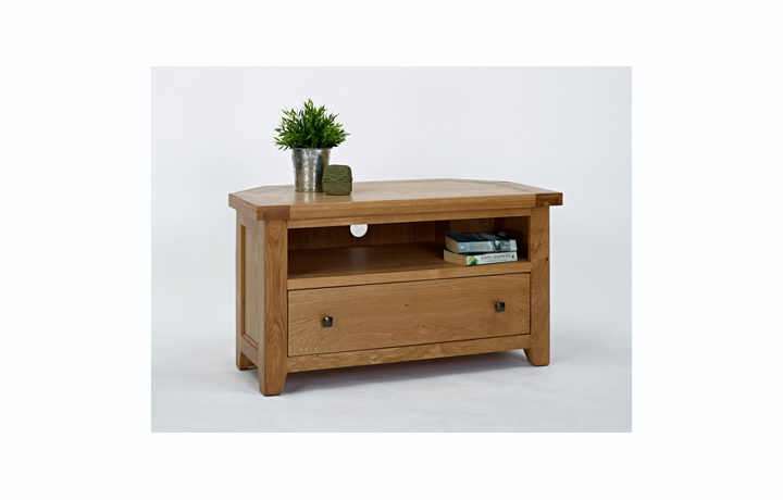 Devon Oak Furniture Range (Web Exclusive) - Devon Oak Corner TV Unit