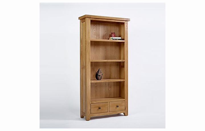 Display Cabinets - Devon Oak Large Bookcase 2 Drawer