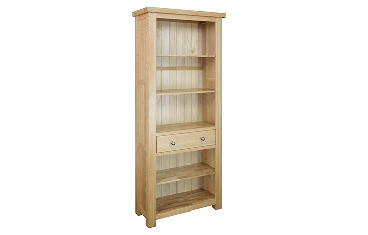 Bookcases - Suffolk Solid Oak Tall 3 Shelf 1 Drawer Unit