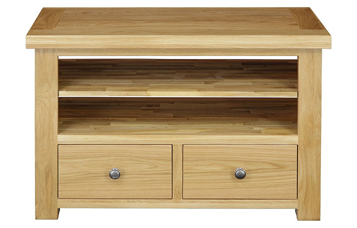 TV Cabinets - Suffolk Solid Oak 2 Drawer TV Unit