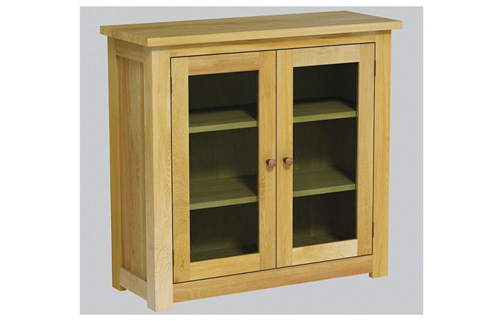 bookcases - Classic Oak - Living - Bookcase - Low Wide Glazed Unit (40mm)