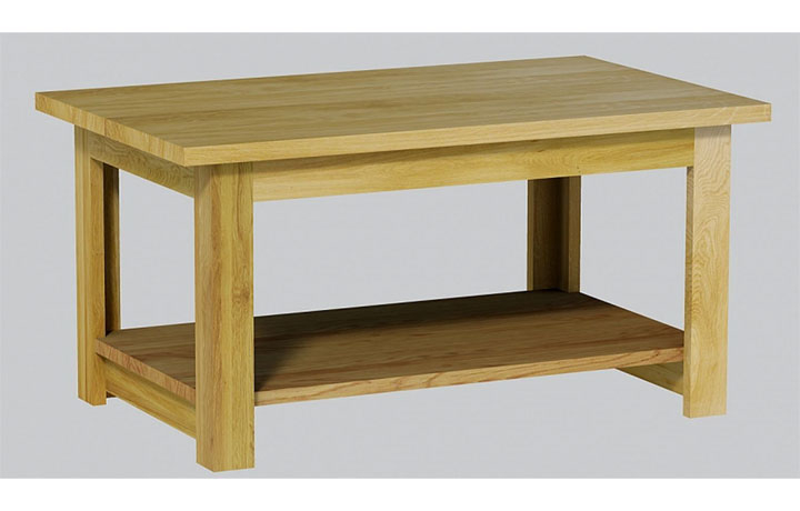 Coffee Tables - Classic Oak Lacquered Small Coffee Table Solid Oak