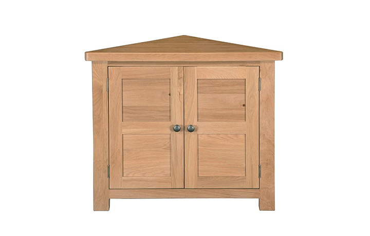 Display Cabinets - Suffolk Solid Oak Corner Unit With Solid Doors
