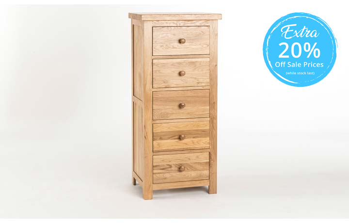 chest-of-drawers - York Solid Oak 5 Drawer Wellington Chest