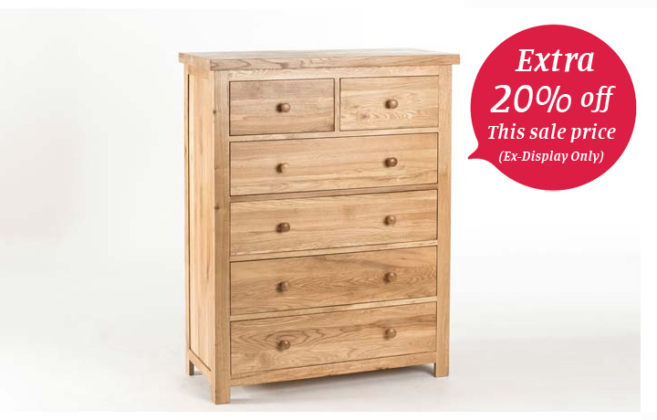 chest-of-drawers - York Oak - Bedroom - Chest - 2 over 4 Chest of Drawers