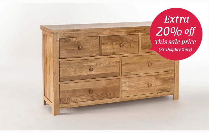 Chest Of Drawers - York Solid Oak 3 over 4 Chest of Drawers