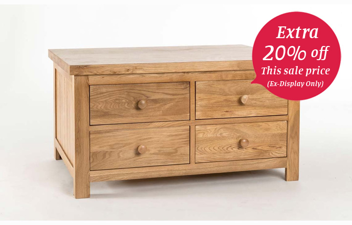 Coffee Tables - York Solid Oak 4 Drawer Coffee Table