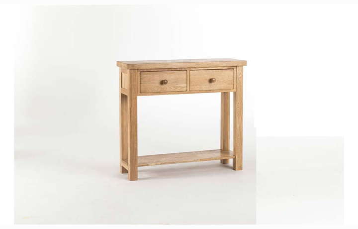 Consoles - York Solid Oak 2 Drawer Console Table