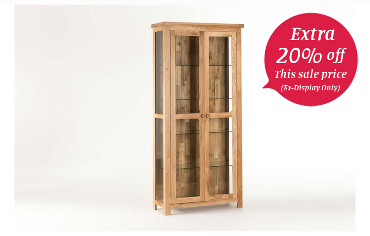 Bookcases - York Solid Oak Glazed Bookcase