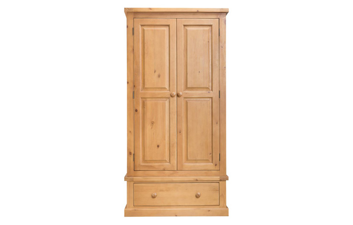 wardrobes - Country Pine - Bedroom - Gents Wardrobe with Drawer