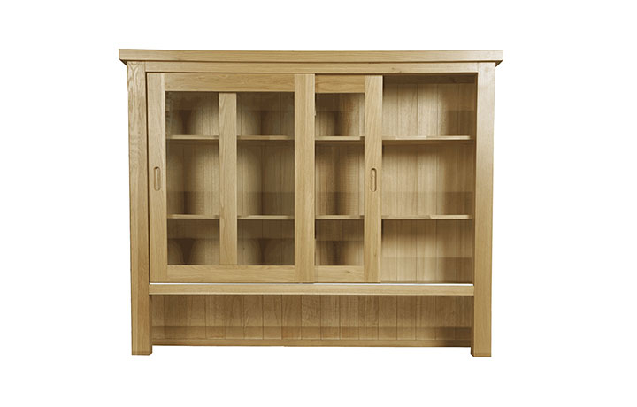 Dresser Tops & Larder Units - Suffolk Solid Oak Large Sliding Door Display Top