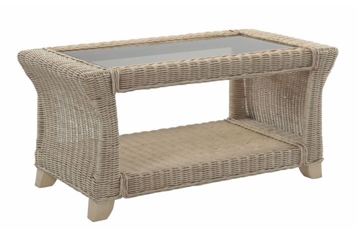 Clifton Cane Range in Natural Wash - Clifton Cane Coffee Table with Bronze Glass