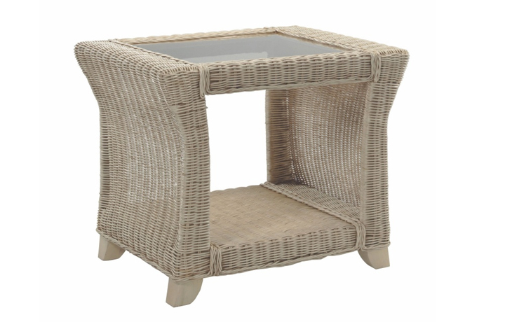 Clifton Cane Range in Natural Wash - Clifton Cane Side Table with Bronze Glass