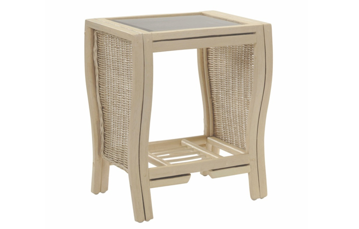 Opera Range in Natural Wash - Opera Side Table with Bronze Glass