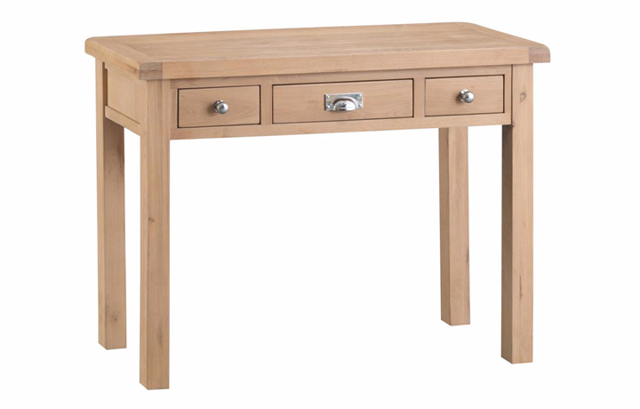 Consoles - Burford Oak 3 Drawer Console Table