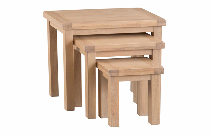 Nested Tables - Burford Oak Nest of 3 Tables