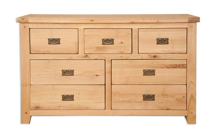Chest Of Drawers - Windsor Natural Oak 7 Drawer Wide Chest