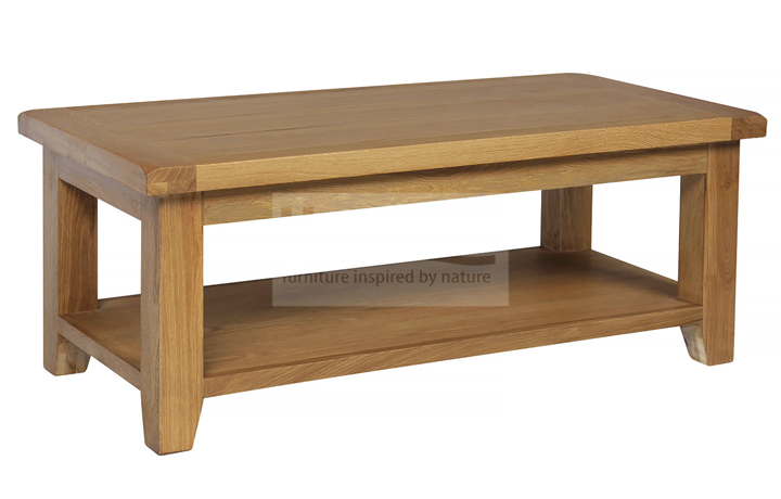 Essex Rustic Oak Furniture Range - Essex Rustic Oak Large Coffee Table with Shelf