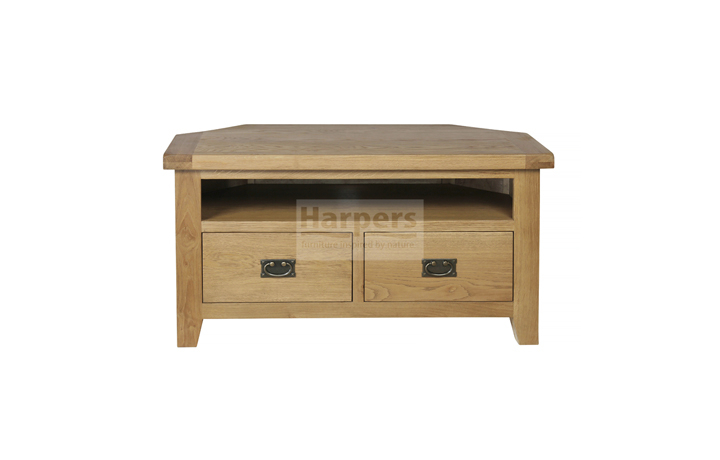 Essex Rustic Oak Furniture Range - Essex Rustic Oak Corner TV Unit with 2 Drawers