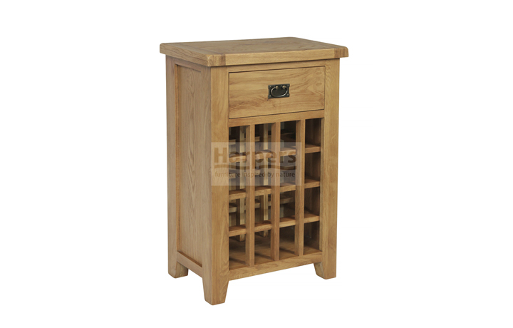 Essex Rustic Oak Furniture Range - Essex Rustic Oak 16 Bottle Wine Rack with 1 Drawer